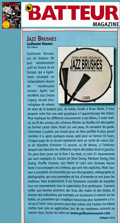 Jazz Brushes Article Batteur magazine 328 décembre 2018