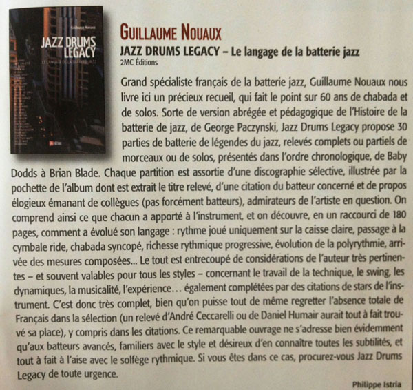 Jazz Drums Legacy batteur magazine octobre 2012