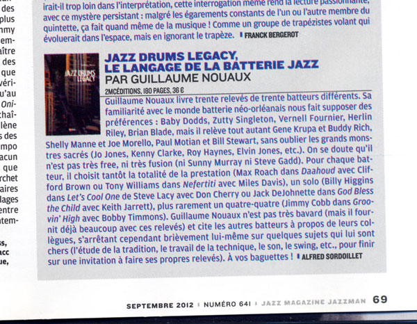 Jazz Drums Legacy Jazz Magazine septembre 2012