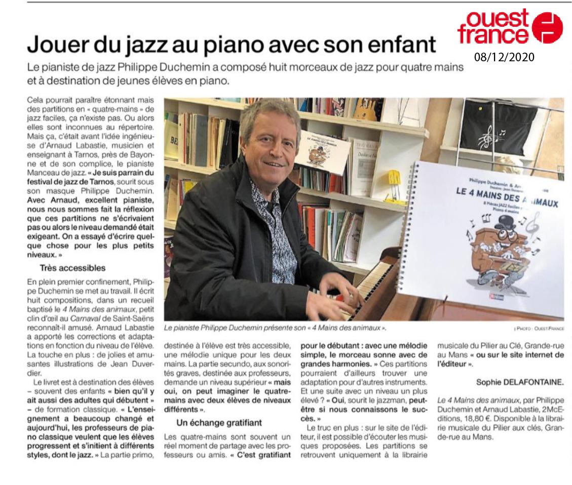 Article de Ouest-France sur le 4 mains des animaux